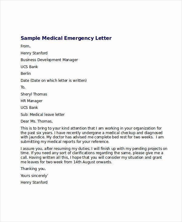 Leave Of Absence Letter for Personal Reasons Elegant Medical Leave Letter 12 Free Word Excel Pdf Documents