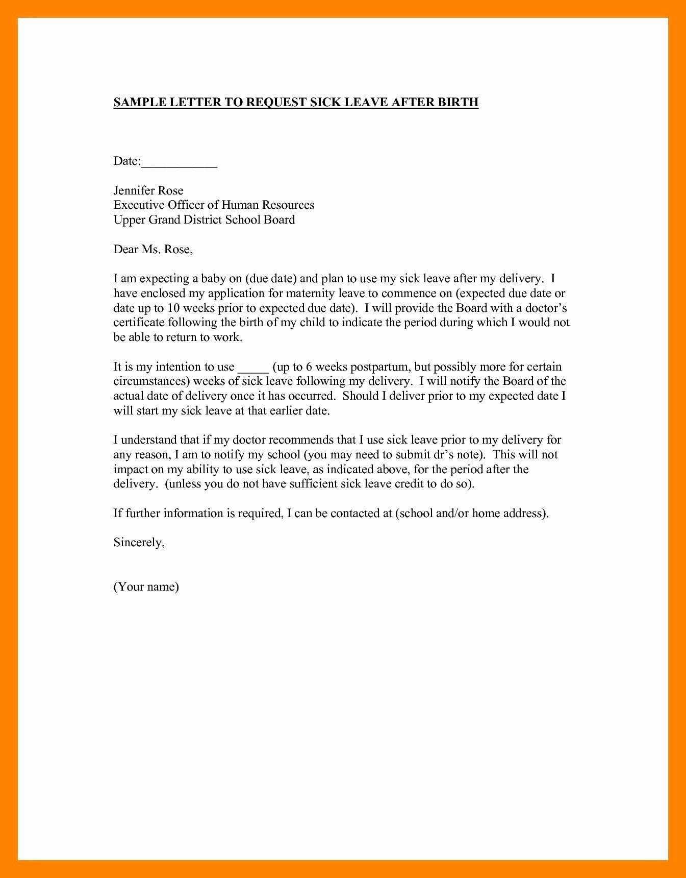 Leave Of Absence Letter for Personal Reasons Inspirational 10 Leave Letter for Personal Reasons Sample