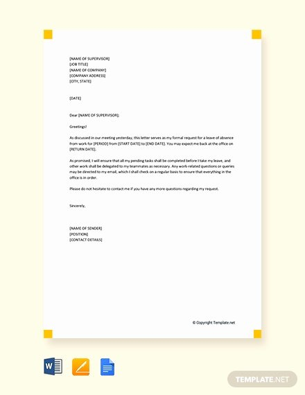 Leave Of Absence Letter for Personal Reasons Inspirational Free Work Experience Letter Template Download 1639