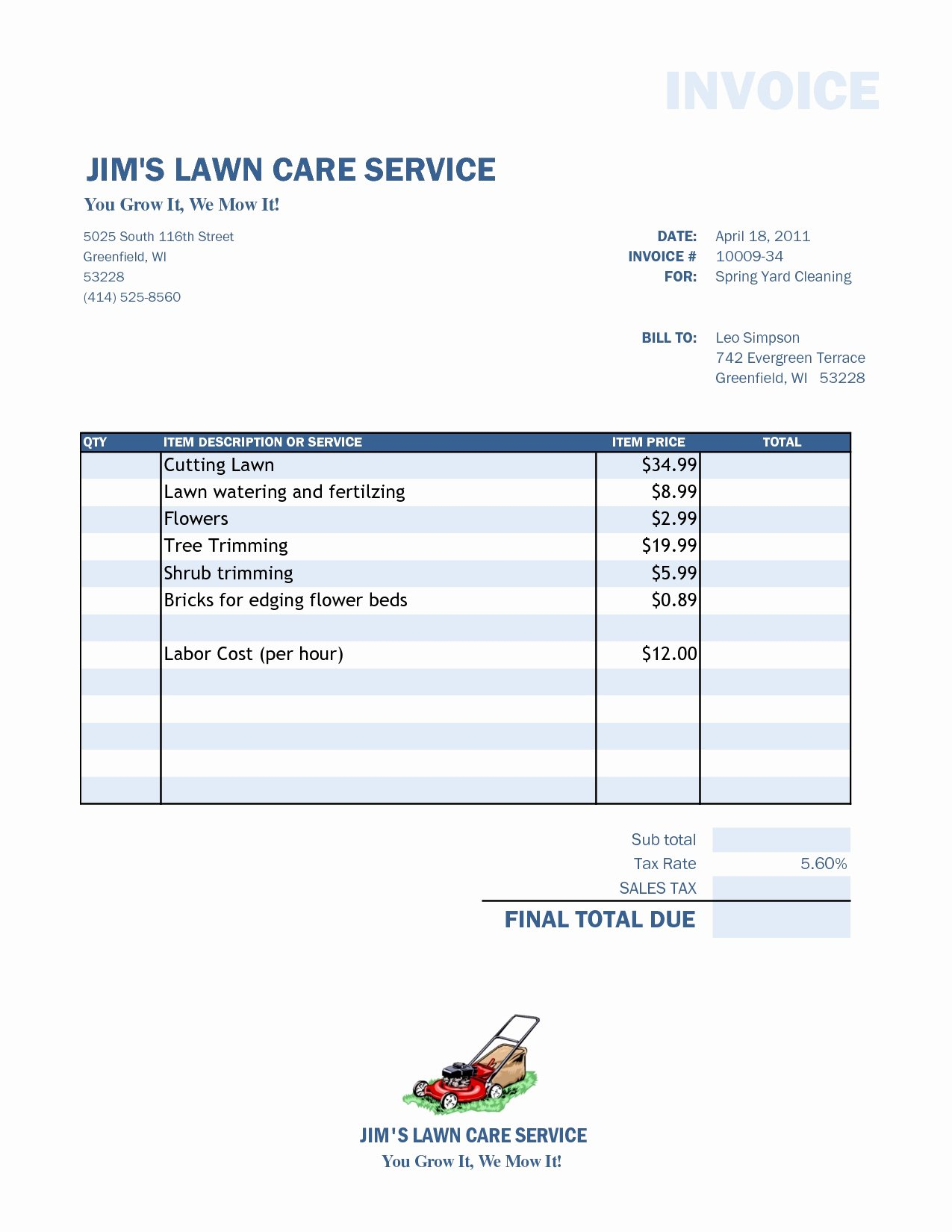 Legislative Bill Template New Lawn Care Invoice Template
