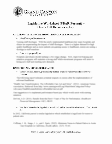 Legislative Bill Template Unique Legislative Worksheet Sbar format How A Bill Be Es Law