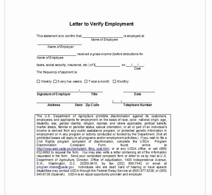 Letter Confirming Unemployment Lovely Employment Verification Letter top form Templates