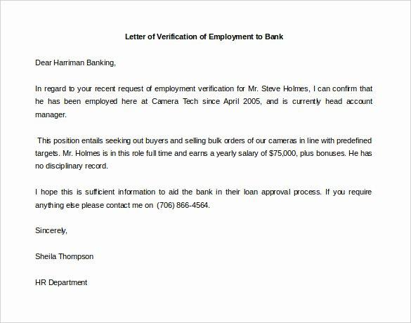Letter Confirming Unemployment Unique Letter Of Employment Verification Template