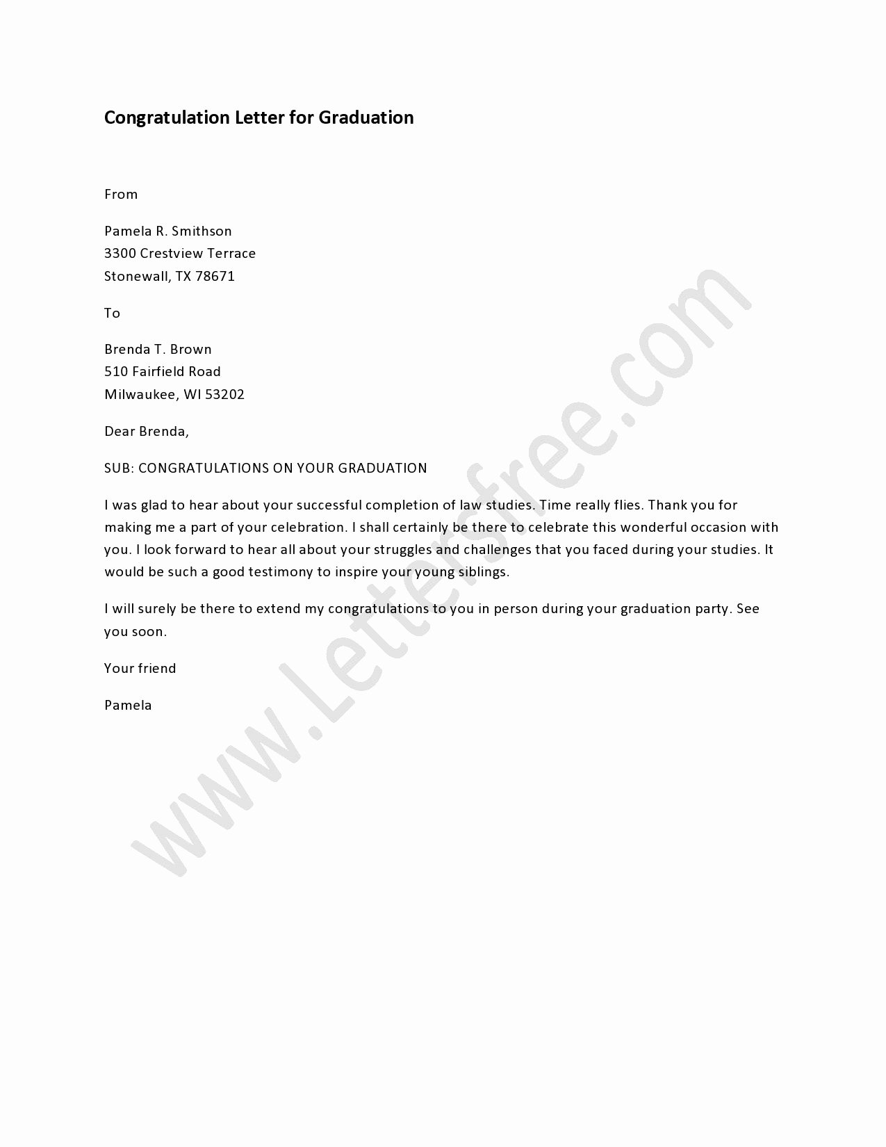 Letter for Graduation Elegant Congratulation Letter for Graduation
