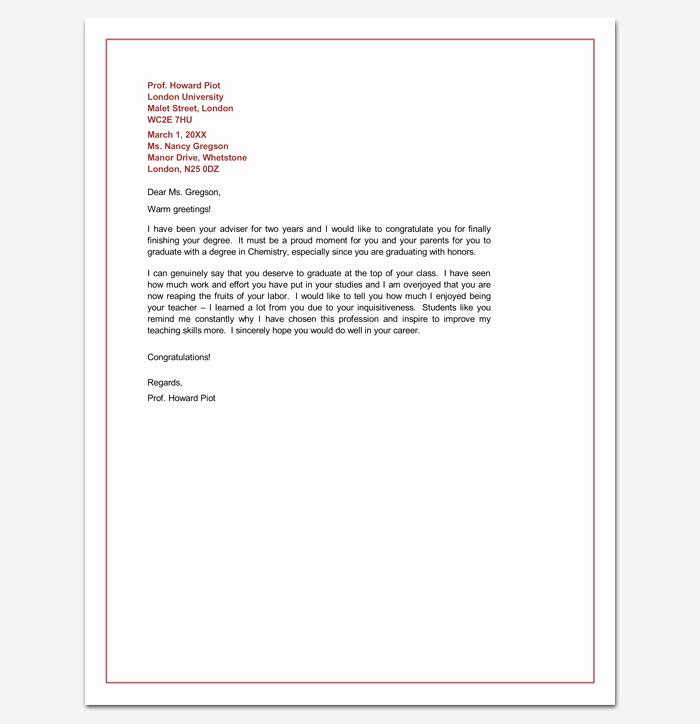 Letter for Graduation Elegant Congratulation Letter Template 18 Samples for Word Pdf
