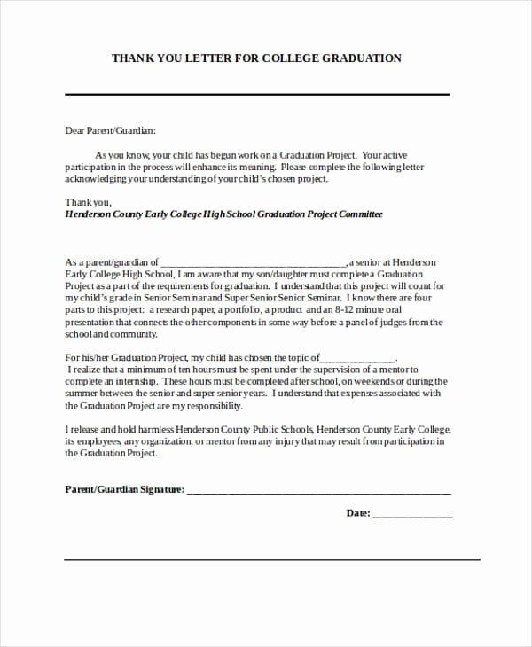 Letter for Graduation Elegant Free 74 Thank You Letter Examples In Doc Pdf