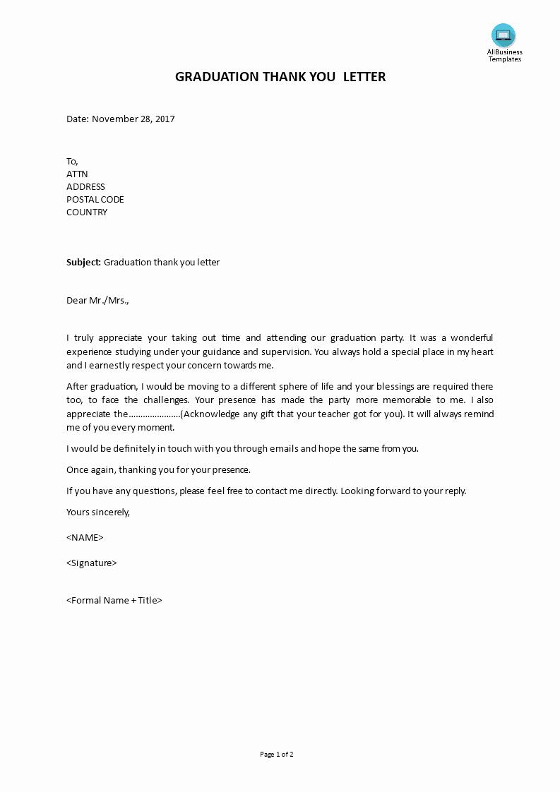 Letter for Graduation Lovely Graduation Thank You Letter