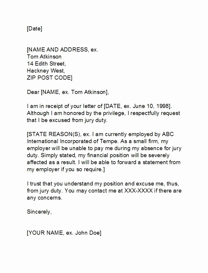 Letter From Employer to Get Out Of Jury Duty Lovely 33 Best Jury Duty Excuse Letters [ Tips] Template Lab
