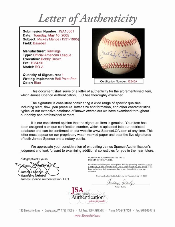 Letter Of Authenticity Samples Awesome What is 3rd Party Autograph Authentication What is Jsa or