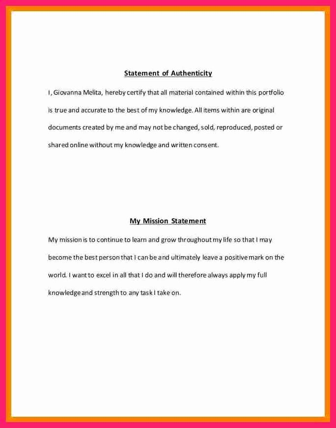 Letter Of Authenticity Samples Elegant Statement Of Authenticity