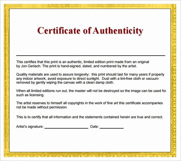 Letter Of Authenticity Template Awesome 20 Certificate Of Authenticity Templates Free Download