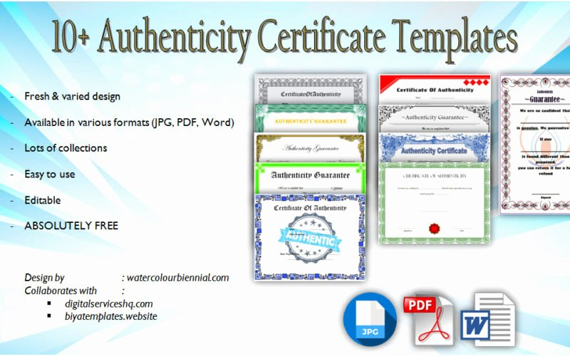 Letter Of Authenticity Template Awesome Free 10 Printable Certificate Of Authenticity Templates