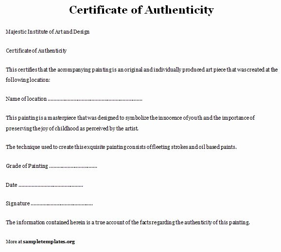 Letter Of Authenticity Template Elegant Certificate Of Authenticity Template Of Certificate Of