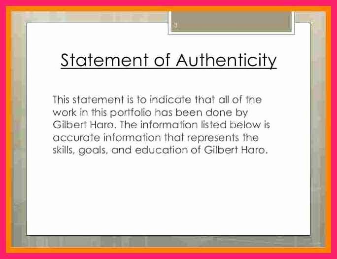 Letter Of Authenticity Template Fresh Statement Of Authenticity