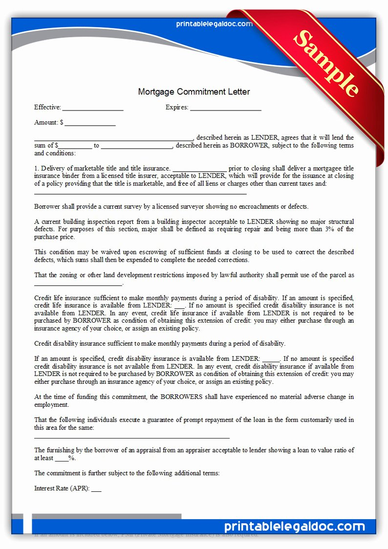 Letter Of Commitment for Employment Beautiful Free Printable Mortgage Mitment Letter form Generic