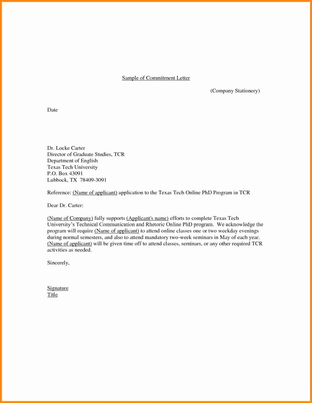 Letter Of Commitment for Employment Inspirational 15 Job Mitment Letter Sample