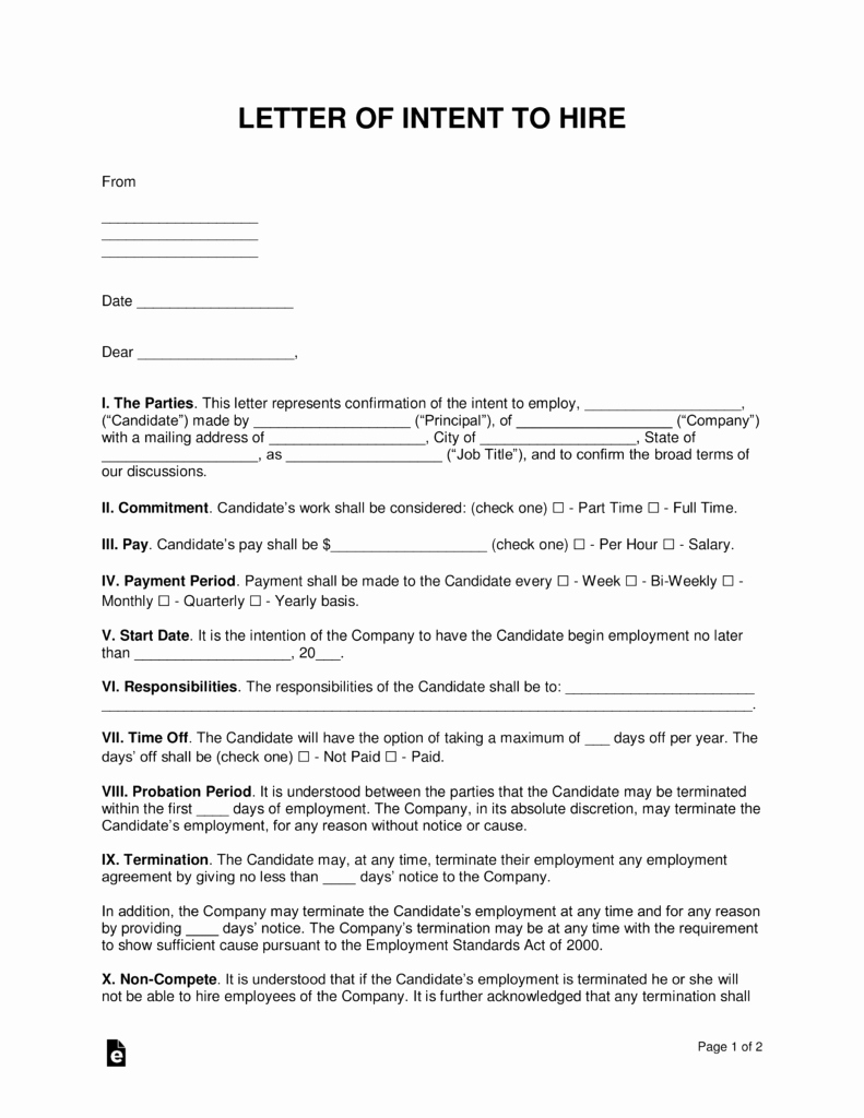 Letter Of Commitment for Employment Lovely Free Intent to Hire Letter Of Intent Template Pdf