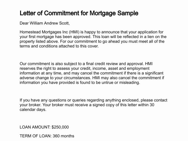 Letter Of Commitment for Employment New Letter Of Mitment