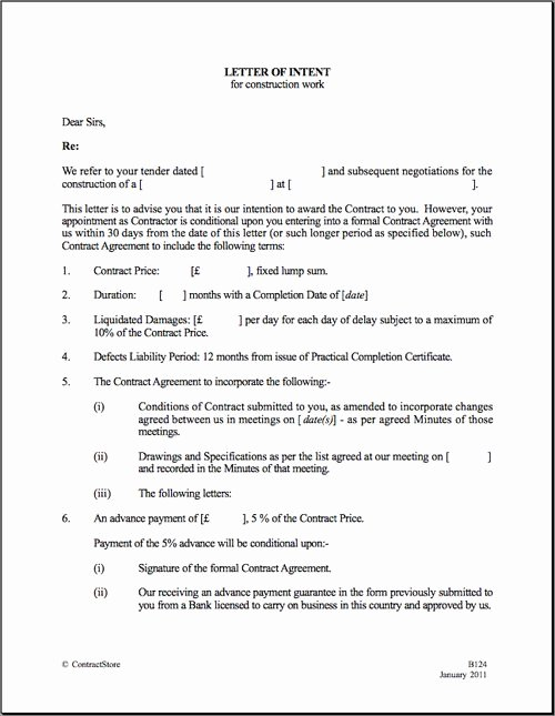 Letter Of Commitment for Employment New Printable Sample Letter Intent Template form