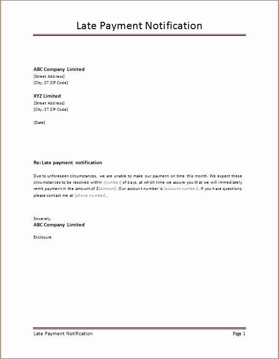 late payment notification letter templates