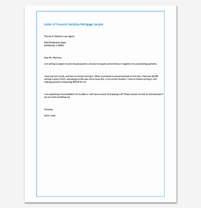 Letter Of Explanation for Late Payments for Mortgage Fresh Sample Letter Of Financial Hardship Mortgage Sample
