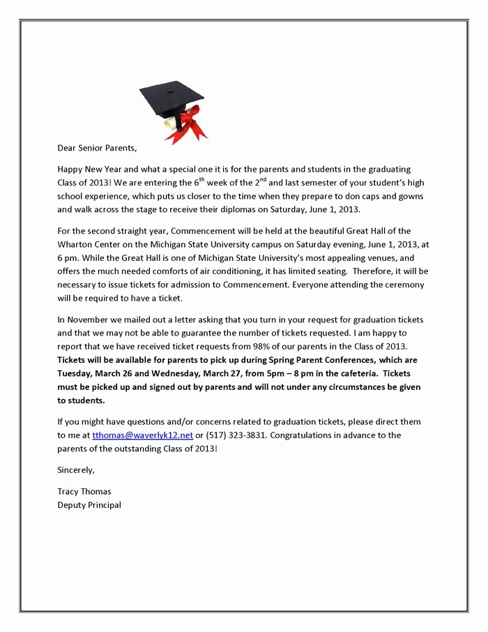 Letter Of Graduation Beautiful Waverly High School