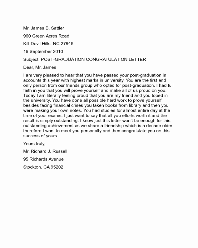 Letter Of Graduation Fresh 2019 Congratulations Letter Templates Fillable