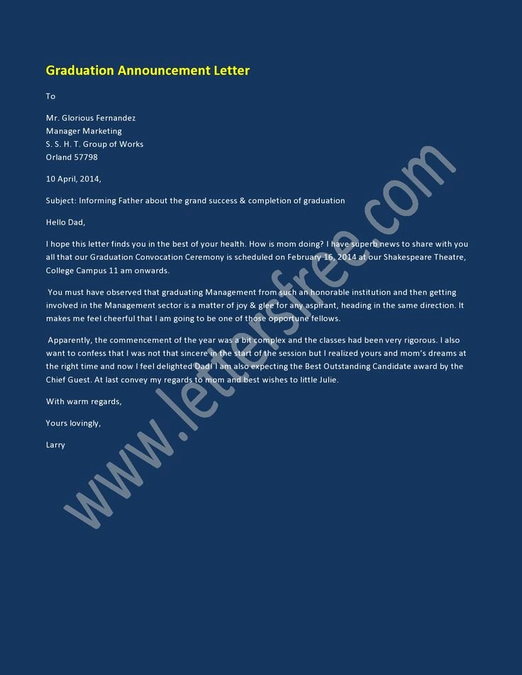 Letter Of Graduation New 1000 Images About Announcement Letter Examples On