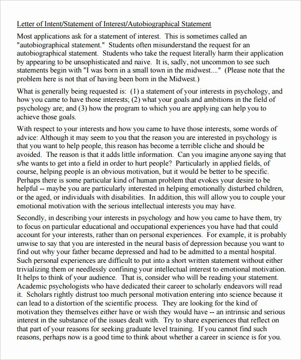 Letter Of Intent for Grad School Fresh Grad School Letter Intent Sample