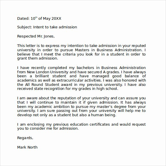 Letter Of Intent for Grad School Lovely Letter Of Intent Graduate School 9 Download Documents