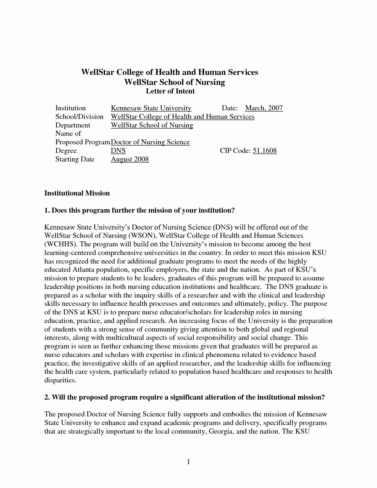 letter of intent grad school