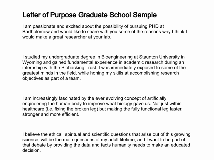 Letter Of Intent Graduate School Samples Awesome Letter Of Purpose