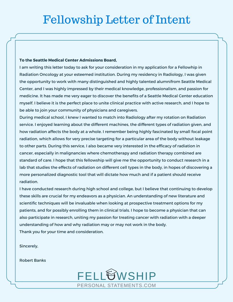 Letter Of Intent Residency Example Awesome Fellowship Letter Of Intent for Getting to Residency Program