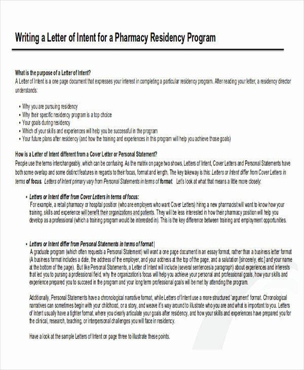 Letter Of Intent Residency Example Fresh 60 Sample Letter Of Intent