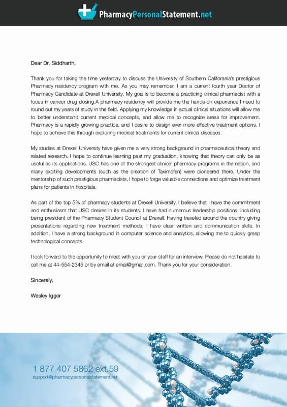 Letter Of Intent Residency Example Fresh Pharmacy Residency Letter Intent