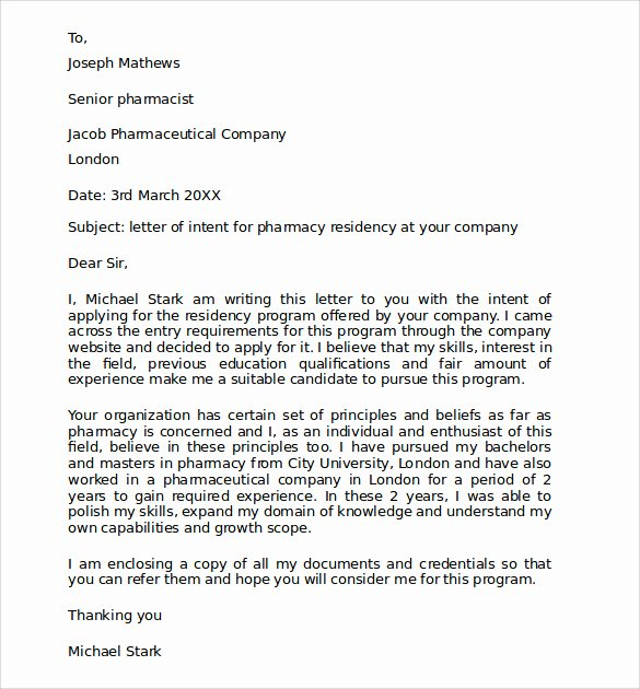 Letter Of Intent Residency Example Lovely Sample Pharmacy Residency Letter Of Intent 3 Documents