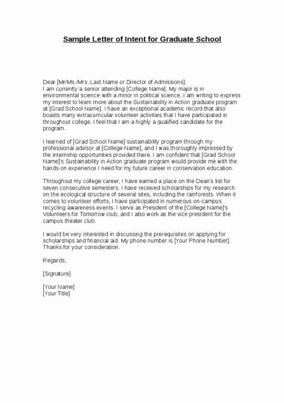 Letter Of Intent Sample for Grad School Best Of Letter Intent for Graduate School