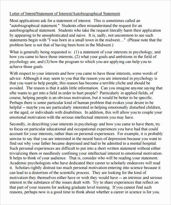 Letter Of Intent Sample for Grad School Lovely Grad School Letter Intent Sample