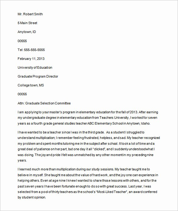 Letter Of Intent Sample for Grad School New 25 Letter Templates Pdf Doc Excel