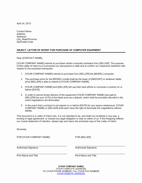 Letter Of Intent to Purchase Real Estate Template Lovely Letter Intent Template