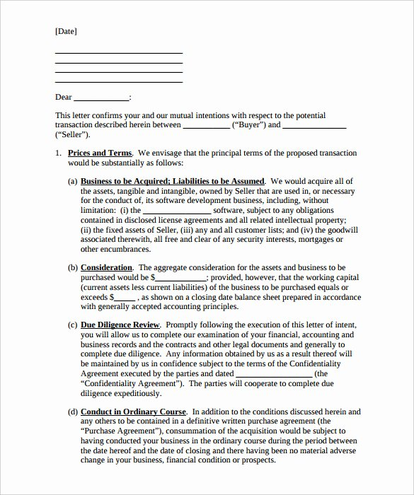 Letter Of Intent to Purchase Real Estate Template Unique Letter Intent to Purchase