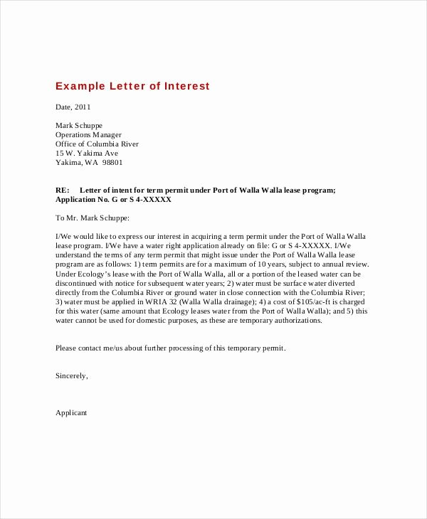 Letter Of Interest format Awesome Letter Interest Example