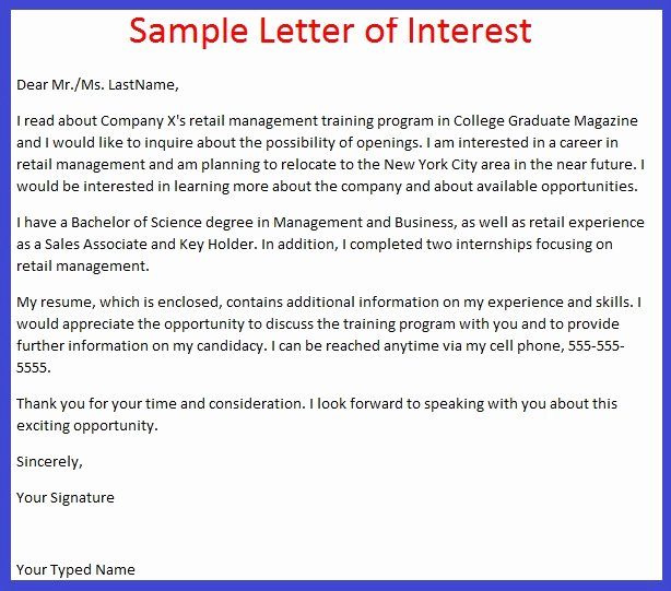 Letter Of Interest format Unique Job Application Letter Example October 2012