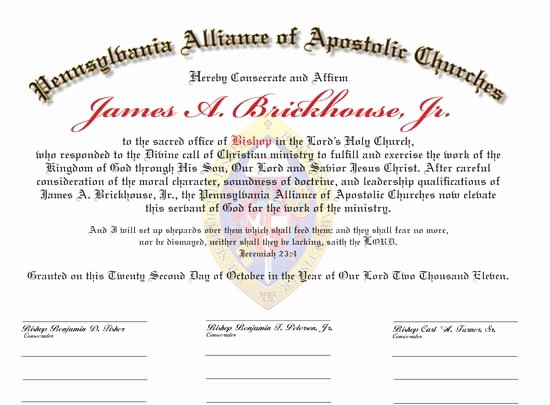 Letter Of ordination Template Unique ordination Certificates for Your Church