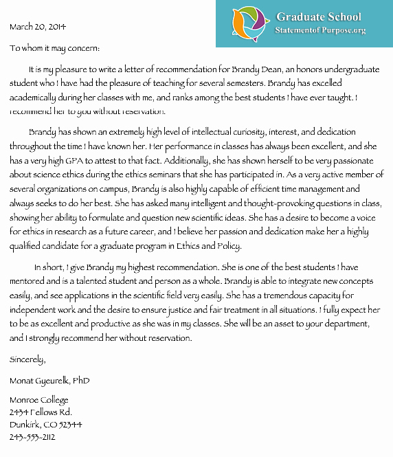 Letter Of Purpose Example Awesome Professional Help with Graduate School Letter Of