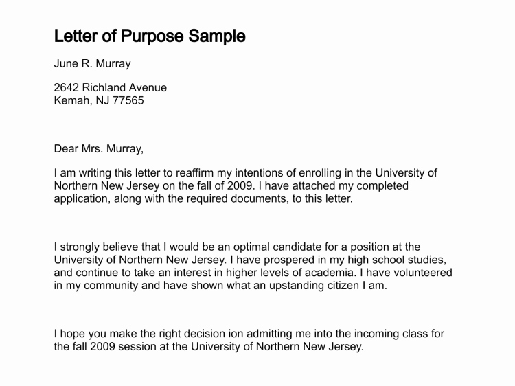 Letter Of Purpose for Graduate School Samples Best Of Letter Of Purpose