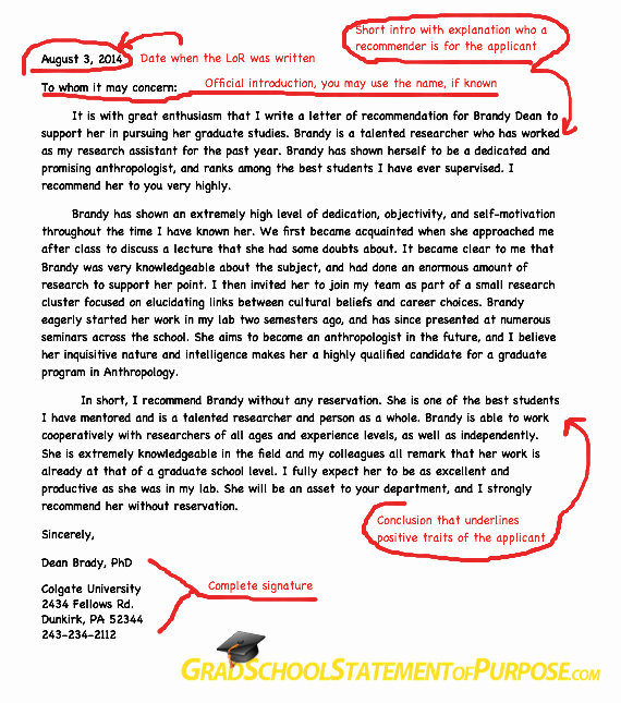 Letter Of Purpose for Graduate School Samples Lovely Graduate School Letter Of Re Mendation format