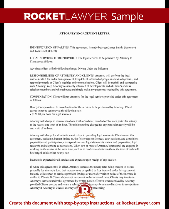 Letter Of Representation attorney Inspirational attorney Engagement Letter for Law Firm Client