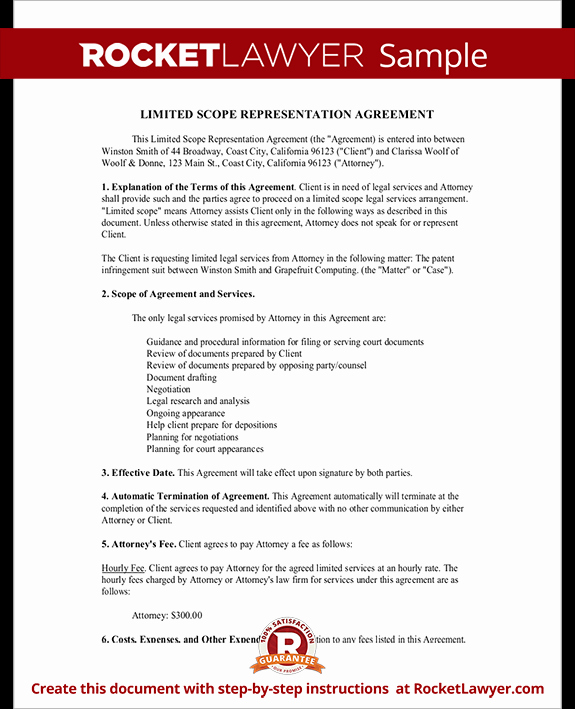 Letter Of Representation attorney Lovely Limited Scope Representation Agreement form with Sample