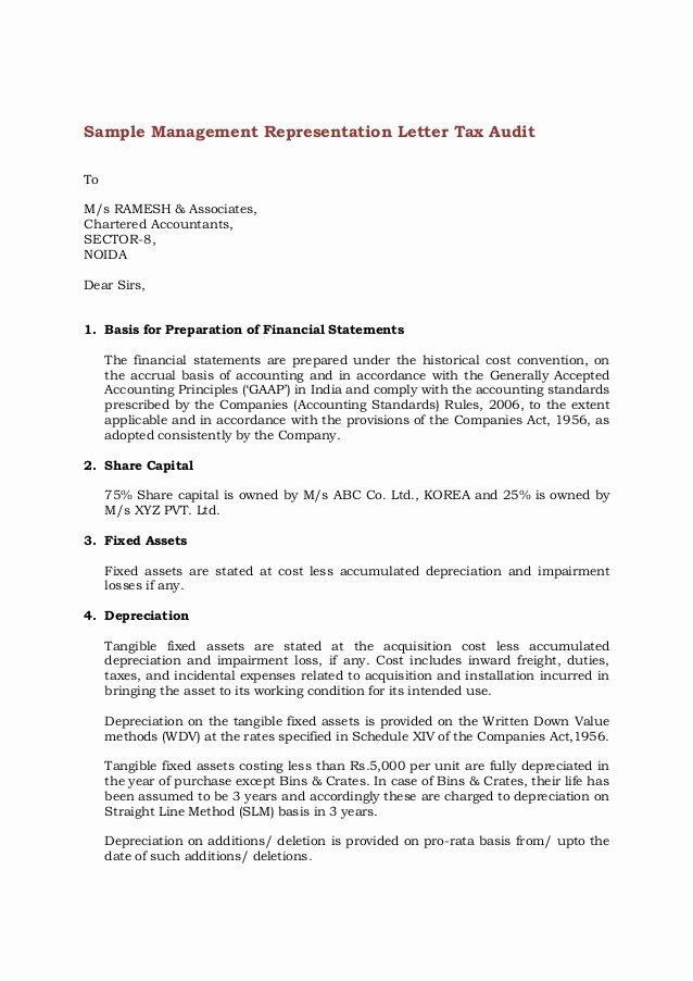 Letter Of Representation Inspirational Sample Management Representation Letter